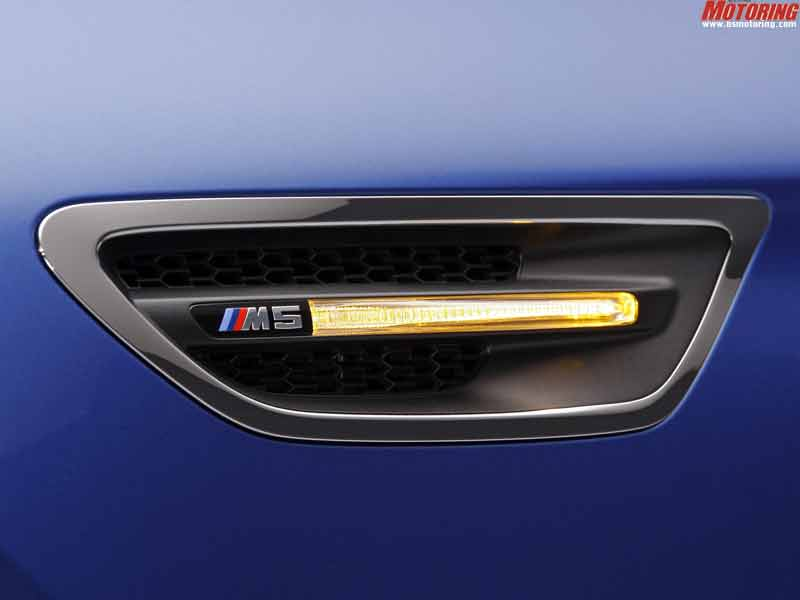 The M5 badge is now in its 28th year of production. Talk about sobering down with age. Vent on the flanks a typical M5 feature.