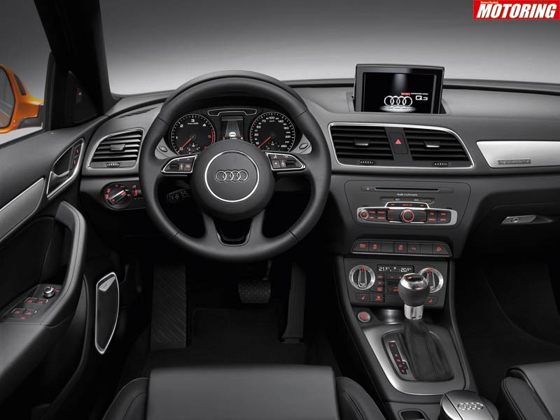 Inside the Q3, everything you touch is still more or less of the same quality as materials you�d expect from a more expensive car. The seats are wide and supportive and, despite the central tunnel, there is room for three people in the back; you even get Audi�s MMI system.