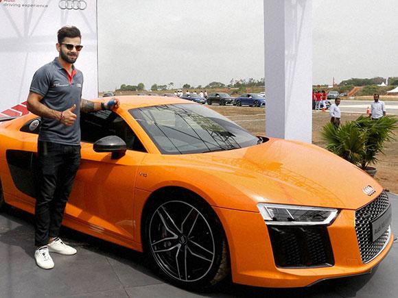 Virat Kohli at the launch of the Audi R8 V10 Plus at Taneja Aerospace