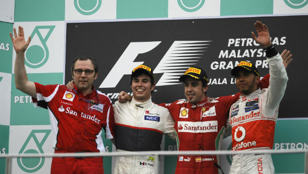 F1: Alonso wins rain-soaked Malaysian GP