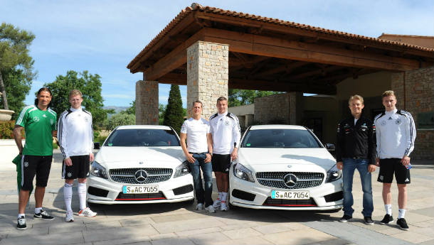 New Mercedes A-Class previewed to the German National Football squad